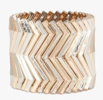 Mixed Metal Chevron Stretch Bracelet