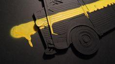 TYPE H - YELLOW/BLACK / 100x70cm / Papercutting & Spray #papercutting #art #handmade #street #graffiti #type #paper #neur_one