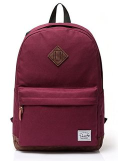 Vaschy Unisex Classic Lightweight Waterproof Campus School Rucksack Travel BackPack Burgundy Fits 13Inch Laptop *** This is an Amazon Affiliate link. Details can be found by clicking on the image.