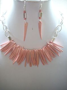 Pink Coconut Stick Necklace and Earrings by DesignsbyPattiLynn