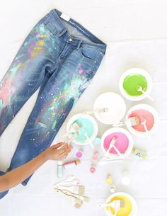 DIY Splatter Paint Jeans - Damask Love