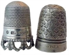 """Charles Horner Left: Hallmarked with 6 for size, maker's mark """"CH"""", assay marks for Chester 1904. The pierced rim is made up of stars, which gives a great sparkling effect Right: An early Dorcas thimble which is steel-cored sterling silver. This has the pre-Dorcas marking of """"Pat."""" for patent and the size #5. The design is a registered one in 1893 known as 'Shell.'"""