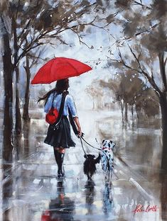 girl with a red umbrella walking in the rain with two dogs including a dalmation