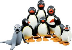 Pingu's family. Could be cute made of fondant as cupcake or cake toppers