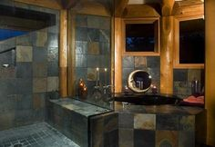 master bathrooms post and beam | Post and Beam Master Bathroom, Washington : log home bathroom, log ...