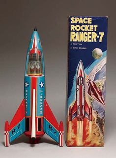Toy rockets generally belong to the science fiction and space age toy collecting categories, but that doesn't mean that you can't start collecting just rockets. Toy Rocket, Retro Rocket, Rocket Ships, Space Rocket, Vintage Robots, Vintage Games, Vintage Toys, Science Fiction, Space Toys