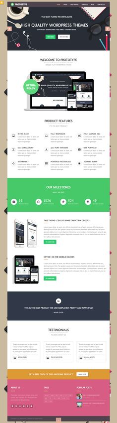 Prototype – Flat WordPress Theme Published by Maan Ali Landing Page Inspiration, Ui Design Inspiration, Interface Web, User Interface Design, Best Web Design, Page Design, Flat Design, Web Layout, Layout Design