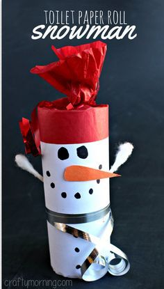 Toilet paper roll snowman. Cute and easy craft for #preK #kindergarten. (Repinned by Super Simple Songs)