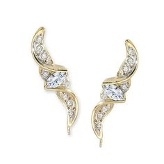 Marquise Cubic Zirconias with Round Cubic Zirconia Accents Ear Pin Earrings in 14k Yellow Gold