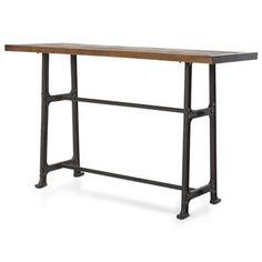 Wolcott Industrial Loft Iron Bleached Oak Dining Bar Table