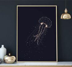 Geometric Constellation Jellyfish, Universe Galaxy, Nursery Decor, Kids Room Art, Star Map, Celestial, Space, Scandinave, minimal, chic by Ludicprints on Etsy