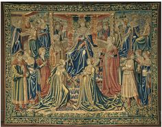 Tapestry from Brussels, V Museum...    Franco-Flemish Netherlandish transitional gowns: 'V'-Necks & 'Wrap'/Coat-Style