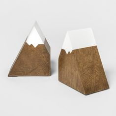 Mountain Peak Bookends - Cloud Island™ Brown - image 1 of 1 Mountain Nursery, Mountain Decor, Baby Boy Rooms, Baby Boy Nurseries, Nursery Themes, Room Themes, Nature Themed Nursery, Wooden Bookends, Industrial Bookends