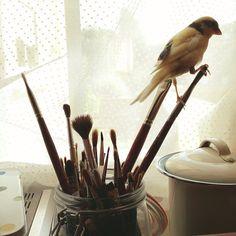 """Ellis likes sitting on my paintbrushes!"", Polly Fern Sergeant"