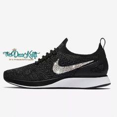 online store 05bfd ef776 Womens Nike Air Zoom Mariah Flyknit Racer Black Dark Grey White Swarovski  Crystal Bling