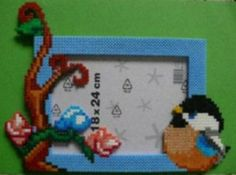 Bird photo frame hama perler beads by babezaza
