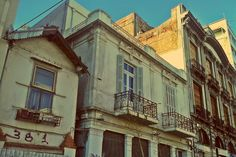 Almost like they were staged, these buildings are arranged in a progressive manner, from the smaller with no decoration on the left to the bigger and more ornate on the right. Commercial Street, Thessaloniki, Buildings, Walking, Decoration, Decorating, Woking, Deko, Deco
