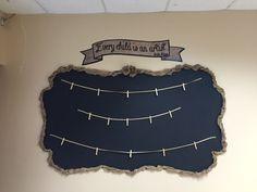 Burlap and chalkboard classroom art display