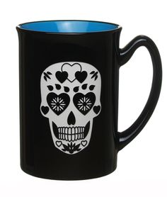 Sugar Skull with Hearts on Forehead, Engraved Graphic 16oz Coffee and Tea Mug/Cup / Birthday and Anniversary Gift / By Celery Street (Marco Blue) -- Additional details at the pin image, click it  : Coffee Mugs