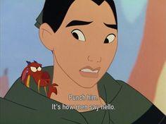 Mulan- Mushu- how to say hello Disney Magic, Disney Amor, Arte Disney, Disney Love, Disney Stuff, Humor Disney, Disney Movie Quotes, Mulan Quotes, Disney And Dreamworks