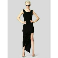 NEW! Gorgeous Black Asymmetrical Bodycon Dress Gorgeous!   Black  Asymmetrical/Bodycon Poly Blend  Machine Wash  Cold Water  No Bleach  Size Medium   New in package   ▪ No Trades  ▪ Fast Shipping IT Ragazza  Dresses Midi