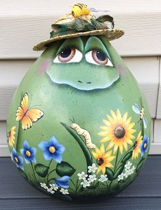 Excited to share this item from my shop: Hand Painted Frog Gourd / Country Primitive gourd shelf sitter Decorative Gourds, Hand Painted Gourds, Primitive Folk Art, Country Primitive, Garden Frogs, Gourds Birdhouse, Gourd Art, Tole Painting, Shades Of Green