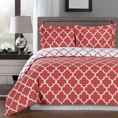 Modern Moroccan Coral and White Cotton Duvet Comforter Cover and Shams Set - Geometric Trellis Lattice Pattern Reversible 3 piece Bedding Set - Matching Window panels curtains available. Great look for a trendy bedroom decor!