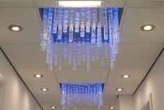 Commissioned by 'Chapel Gallery', Ormskirk, Lancashire. Etched glass rods lit by colour change LEDs. www.jovincent.com