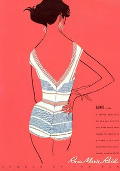 Rose Marie Reid, Jewels of the Sea swimsuit collection, 1950s. #20thCmod