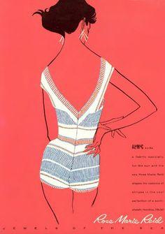 Rose Marie Reid Swimwear ad, 1950s.