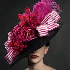 Nicholas Kniel custom made millinery  - Black Portriat hat with fushia embellishments