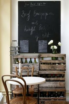 chalkboard + wooden crates + wooden chairs + diner table