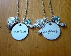 Best Friend Necklaces. Ariel Necklace. Little Mermaid Necklace. BFF necklace. Snarfblat & Dinglehopper. Perfect Little Mermaid Gift! by WithLoveFromOC.etsy