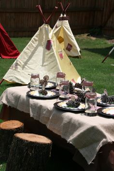 """""""Camping"""" food table."""