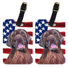 Pair of USA American Flag with Labrador Luggage Tags SC9029BT