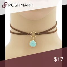"""SALETRENDY SUEDE CHOKER NECKLACE WITH PENDANT Trendy Suede Leather Choker Necklace with Turquoise Stone Semi-precious stone in Teardrop setting Dark Brown Suede 12"""" Length with 3"""" Extender   NO TRADES Peach Couture Jewelry Necklaces"""