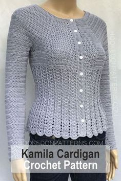 Cardigan Crochet Pattern - Kamila Crochet Patterns To Wear. A beautiful fitted style cardigan. Shapely design to accentuate curves. #crochet #cardigan #pattern #beautiful #pretty #stylish #modern #fashion #style #clothing #clothes #top