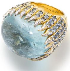 Diamonds in the Library: Two diamond and aquamarine rings, by Tony Duquette.