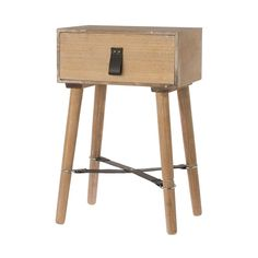 An inspiring find is this rustic wooden bedside table, perfect for a smaller room, added detail with leather look strapping and handle.  If you are looking at adding interest at a great price, these bedside tables will add the perfect touch.  28 x 35 x 55cm.
