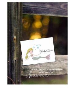 Children notecard Mermaid personalized custom by gracieandco, $17.50