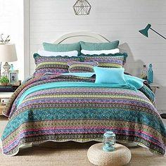 Home & Garden Quilts, Bedspreads & Coverlets Cotton Multi Color Striped Quilt Boho Quilt Cotton Coverlet Cotton Bedspr Queen