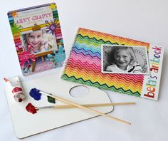 Rainbow design - colourful and vibrant, this design is available as an Invitation as well as a Personalised Sketch book. Perfect for Art Parties and gifts for budding artists - www.macaroon.co
