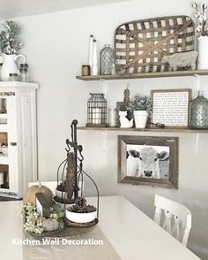 Rustic dining room wall decor farmhouse wall decor farmhouse kitchen wall decor best ideas on rustic . Dining Room Shelves, Farmhouse Dining Room Table, Dining Room Wall Decor, Farmhouse Kitchen Decor, Dining Room Design, Home Decor Kitchen, Modern Farmhouse, Farmhouse Style, Farmhouse Shelving