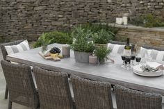The Neptune Hudson concrete table is available online today at Jo Alexander. We stock and sell a wide range of high-quality garden furniture products at affordable prices. Call one of our experts on 01954 267 857 for more information. Concrete Outdoor Table, Wooden Garden Table, Garden Dining Set, Concrete Garden, Patio Dining, Patio Table, Dining Table Chairs, Outdoor Dining, Outdoor Spaces