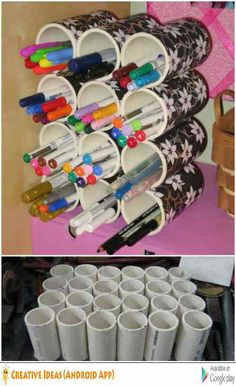25 Life-Changing PVC Pipe Organizing and Storage Projects - Page 2 of 2 - DIY & Crafts Pvc Pipe Storage, Craft Room Storage, Craft Organization, Storage Ideas, Organizing Hacks, Organizing Your Home, Marker Storage, Pvc Pipe Projects, Cute Pens