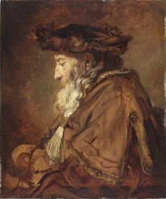 """Rembrandt, Portrait of a Rabbi, 1645, The Leiden Collection.  This work was featured in the exhibition """"Small Treasures - Rembrandt, Vermeer, Hals and their Contemporaries"""" at the North Carolina Museum of Art, which closed on 1/4/15."""