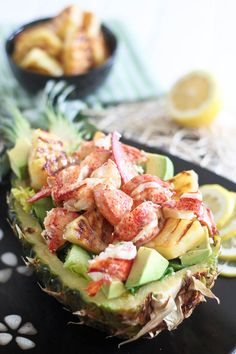 Grilled Pineapple and Lobster Salad. #recipes #foodporn #salads #seafood