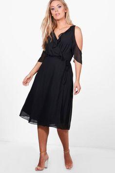 Plus Lydia Chiffon Frill Cold Shoulder Midi Dress