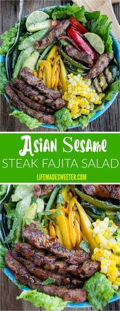 Asian Sesame Steak Fajita Salad combines all your favorite flavors of fajitas along with a sesame lime cilantro dressing into one jam-packed and flavorful salad! Best of all, you can make this on the stove or your grill in just 30 minutes which is perfect for those warm summer evenings and even busy weeknights!