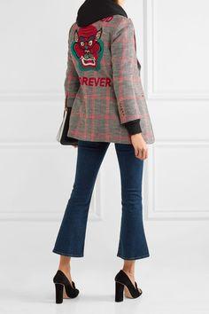 Gucci - Appliquéd Checked Wool-blend Tweed Blazer - Mushroom - IT